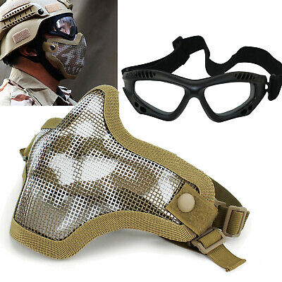 $9.49 • Buy Skull Mesh Half Face Mask W/ Goggles For Military Tactical CS Paintball Airsoft