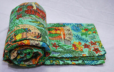Indian Handmade Kantha Quilt Bedspread Throw Pure Cotton Blanket Twin Floral Art • 24£