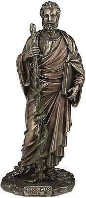 Bronzed Resin Sculpture Aesculap Hippocrates Statue Figurine Greek Mythology • 64.95£