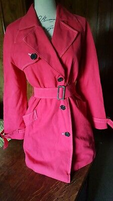 £14.99 • Buy Vintage Pink Jaeger Size S Short Trench Coat With Black Buttons And Belt Buckle