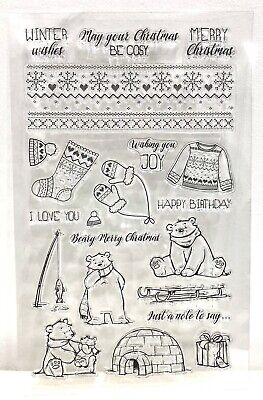 Christmas Themed Clear Stamps Polar Bear Stamps Happy Birthday Stamp - UK Seller • 3.50£
