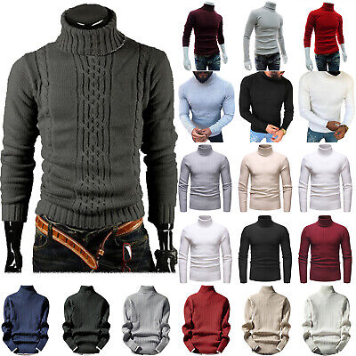 Mens Chunky Cable Knitted Turtle Polo Neck Jumper Winter Warm Sweater Pullover L • 15.69£