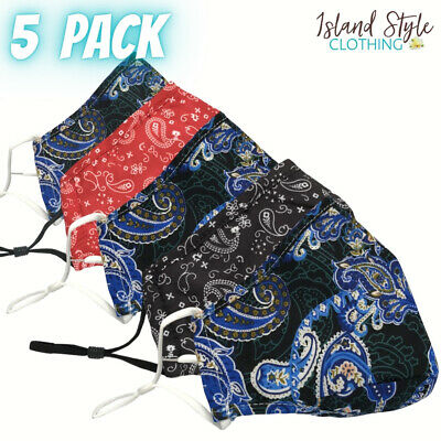 AU14.50 • Buy 5 PACK - MIXED PAISLEY Adult Face Masks Cotton Reusable Including Filter Pocket