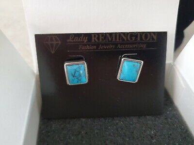 $ CDN38.91 • Buy Lady Remington For Lia Sophia Genuine Turquoise Rectangular Earrings NIB