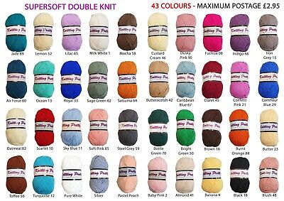 Knitting Pretty Supersoft DK Yarn. 43 Colours. Crochet. Knitting.100g. FREE POST • 2.95£