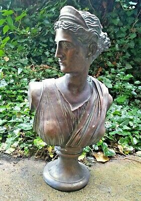 GREEK STYLE GARDEN STATUE - Classical Ornament Patio Woman Classical Bust Lady • 99.95£