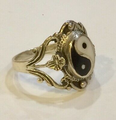 Solid Sterling Silver Decorative Flower Yin And Yang Ring Size L • 17.50£