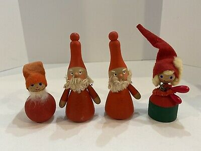 $ CDN37.95 • Buy Family Of 4 Vintage Swedish Wooden Gnomes/Elves Christmas Decorations