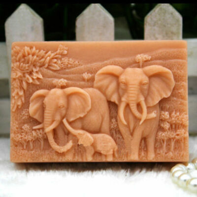 Elephant Family Making Mould Silicone Soap Candle Mold Craft Handmade Molds • 6.59£