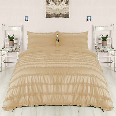 3 PC Or 5 PC Horizontal Ruffle Duvet Set 1000 TC Egyptian Cotton Beige Solid • 86.99£