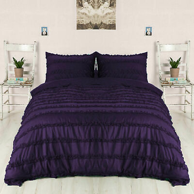 3 PC Or 5 PC Horizontal Ruffle Duvet Set 1000 TC Egyptian Cotton Purple Solid • 86.99£