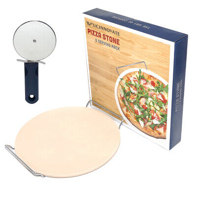 """Typhoon Ceramic Stone 13/"""" Large 33cm Pizza Stone With Rack /& Pizza Cutter Pizza"""