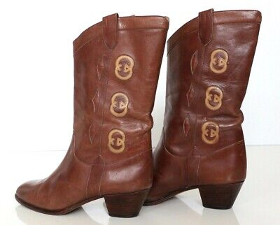 Vintage Gucci Boots GG 70s 80s Women's Brown Leather Boots Sz 36 B 6 US  • 268.83£