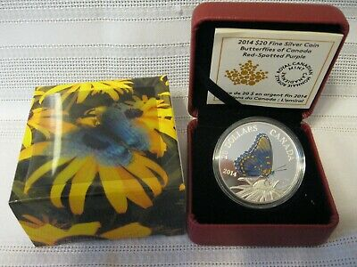 $57.67 • Buy 2014 RCM $20 Coloured Red Spotted Purple Butterfly Fine SIlver Coin Case Box COA