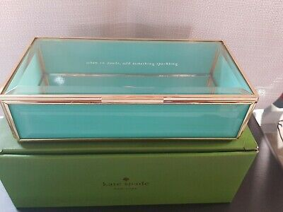 $ CDN65.32 • Buy Kate Spade Out Of The Box Glass Jewelry Box Turquoise NEW