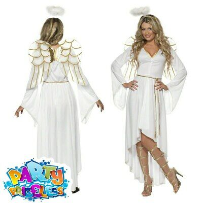 £25.99 • Buy Angel Costume + Wings Sexy Christmas Ladies Fancy Dress Xmas Outfit New UK 8-18
