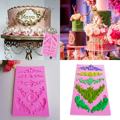 Silicone Baroque Flower Lace Fondant Mould Cake Decorating DIY Sugar Icing Mold • 4.39£