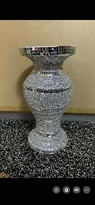 AMAZING SILVER MIRRORED SPARKLE VASE, LOVELY SPECTACULAR 30cm Tall • 21.99£