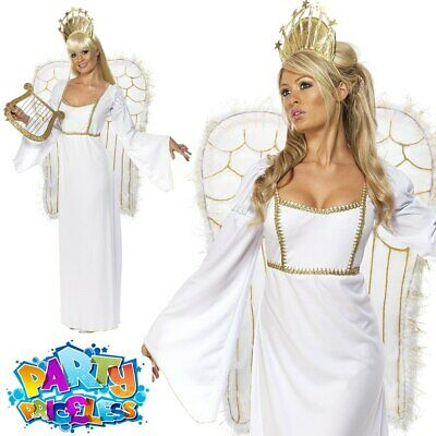 £35.99 • Buy Adult Christmas Angel Gabriel Costume Sexy Long Dress Ladies Fancy Dress Outfit