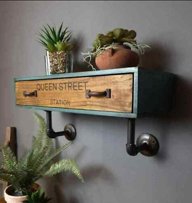 Industrial Wall Shelf Vintage Retro Unit Small Storage Drawer Rustic Metal Pipe  • 39.99£