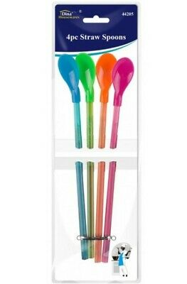 4 X Spoon Straws - Reusable - Milkshakes Juices Smoothies • 2.59£