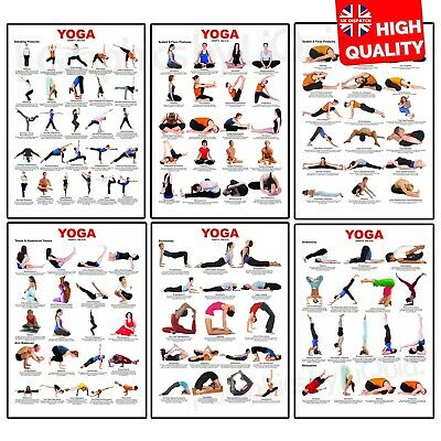 £4.99 • Buy Yoga Chart Poses Posture Exercise Fitness Posters Print | A5 A4 A3 A2 A1 |