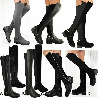 Womens Flat Over The Knee Thigh Stretch Suede Boots Riding Low Heel Pull On Size • 10.99£