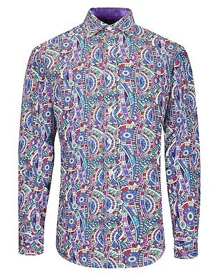 £19.99 • Buy MENS SMART CASUAL COLOURFUL MOD's 60s PARTY PRINTED SHIRT SILKY STRETCH FABRIC