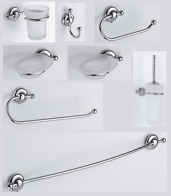 Set Bathroom Accessories Rio Chrome Classic And Modern Brass Made IN Italy • 121.11£