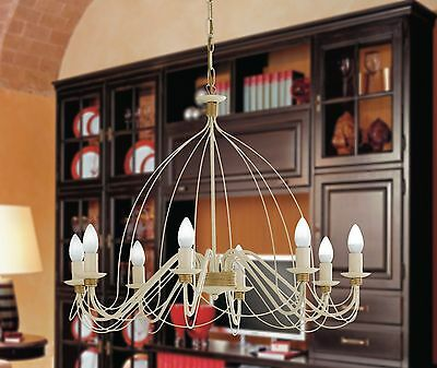 Hanging Chandelier Classic Wrought Iron Rustic Candles Gold Art Povera • 106.86£