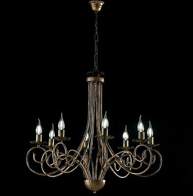 Hanging Chandelier Black Copper Wrought Iron Candles 3 5 8 Lights • 151.18£