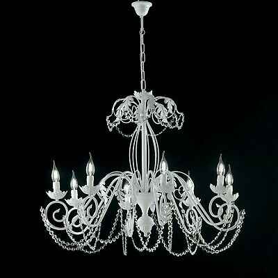 Hanging Chandelier White Shabby Crystals Wrought Iron Candles 3 5 8 Light • 215.43£
