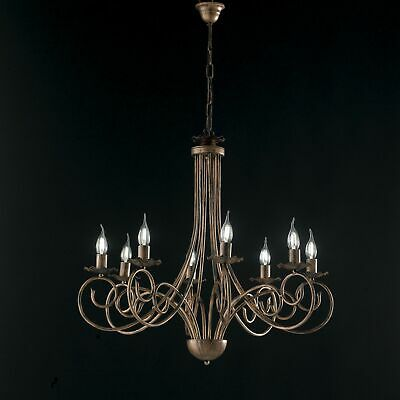 Hanging Chandelier Candles Black Copper Wrought Iron Rustic 8 Lights • 161.55£
