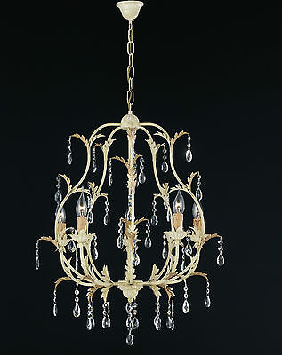 Chandelier Wrought Iron Candles Leaves Gold Rhinestone Italian Product Artisan • 349.32£