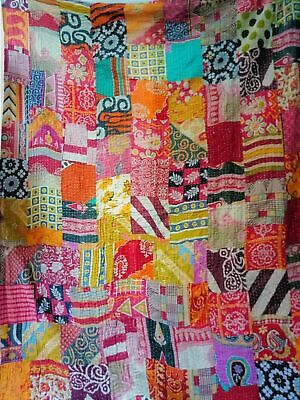 Vintage Kantha Blanket Bedspread Indian Handmade Quilt Throw Cotton Ralli Gudari • 19.99£