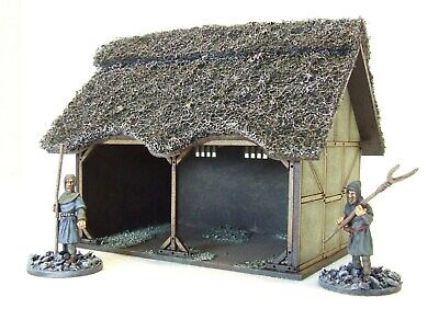 £30 • Buy DARK AGE CART/BARN/STABLE  -   28mm MDF BUILDING FULLY ASSEMBLED + PAINTED