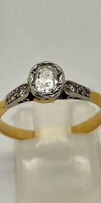 18ct Vintage Diamond Solitaire 0.50ct(original Victorian) Size P. Beautiful Ring • 600£