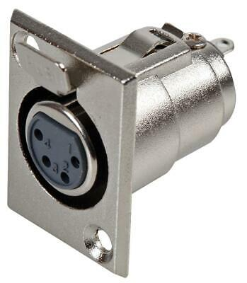Socket, Xlr, Chassis, 4p, Metal Body, Chassis Mount, Gender Socke For Pro Signal • 7.38£