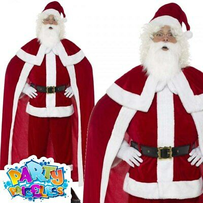 £40.99 • Buy Deluxe Santa Claus Costume + Cape Father Christmas Mens Xmas Fancy Dress Outfit
