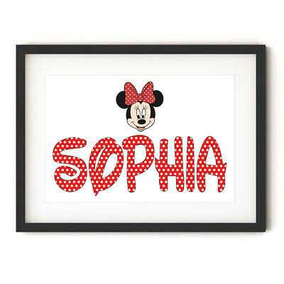 Personalised MINNIE MOUSE NAME Wall Art Print Poster GIFT Disney Theme Figure • 3.99£