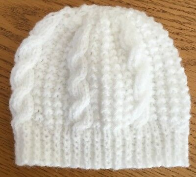 Hand Knitted White Cable Pattern Newborn Baby Hat • 3.59£