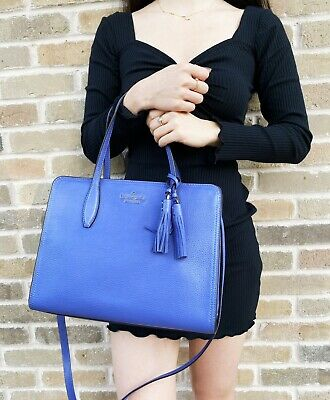 $ CDN165.17 • Buy Kate Spade Medium Rowe Lavender Blue Leather Satchel Crossbody Bag Tassel