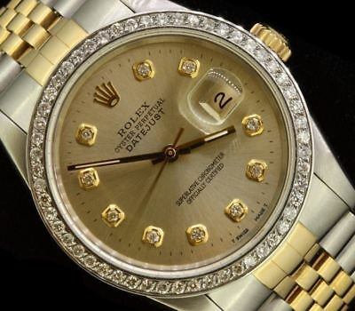 $ CDN7804.76 • Buy Rolex Mens Datejust Oyster Gold Steel Diamond Dial Bezel Watch