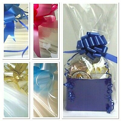 💜Christmas HAMPER BASKET BAGS & BOWS Cellophane Gift Wrap Mums Baby Bouquet • 2.99£