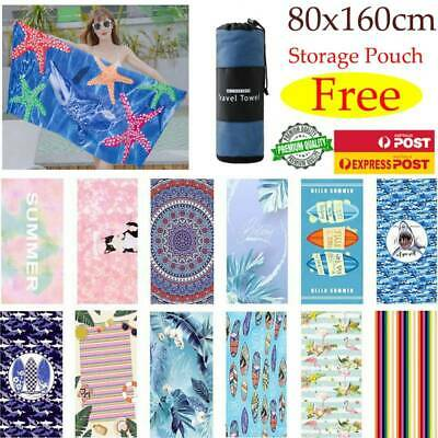 AU19.99 • Buy Free Pouch! Adults Large Soft Quick Dry Microfibre Sand-free Travel Beach Towel