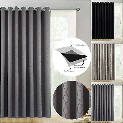 Heavy Thick Door Curtain Thermal Blackout Eyelet Ready Made Single Panel Tieback • 15.80£