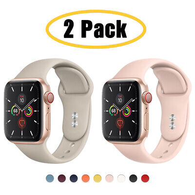$ CDN8.29 • Buy 2 PACK Silicone Sport Band IWatch Strap For Apple Watch 6 5 4 3 SE 38/42/40/44mm