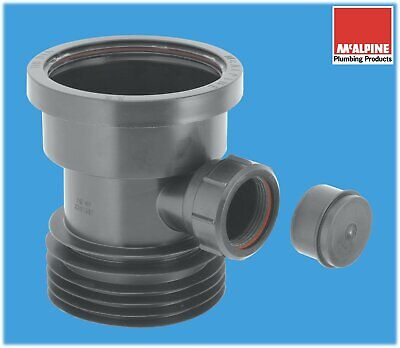 McALPINE 4  / 110mm Drain Connector With 40mm Waste Pipe Boss In Black • 14.45£