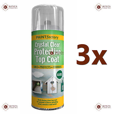 3x 400ml Crystal Clear Protective Top Coat UV Proof Spray Paint Gloss Effect New • 11.95£