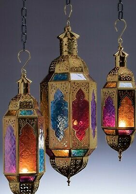 £17.50 • Buy Moroccan Hanging Multi Coloured Glass Lantern Tea Light Candle Holder Home Gift